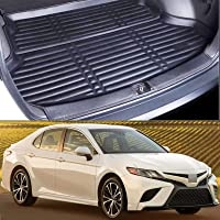 Momoap/Car Black Leather Car Boot Pad Liner Cargo Mat Tray Trunk Floor Protector Mat for Toyota Camry 2018-2021