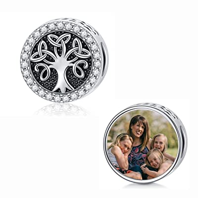 Buy Sliacete Personalized Photo Picture Charm Bead Sterling Silver Fit Pandora Bracelet Customized Image Jewelry For Women Girl Online In Indonesia B08x2cp5pv