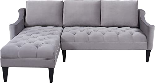 Jennifer Taylor Home Amelie Collection Modern Hand Tufted Accented Reversible Velvet R/L Arm Facing Sectional Sofa