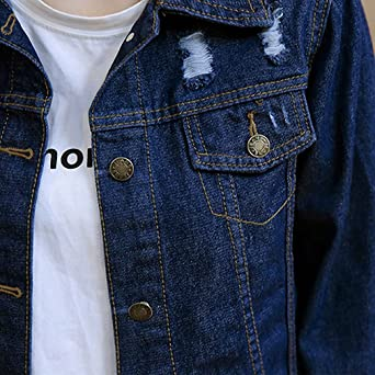 Huiwa Womens Denim Jacket Personality Frayed Hole Jeans Coat Long Sleeve Jackets at Amazon Womens Coats Shop