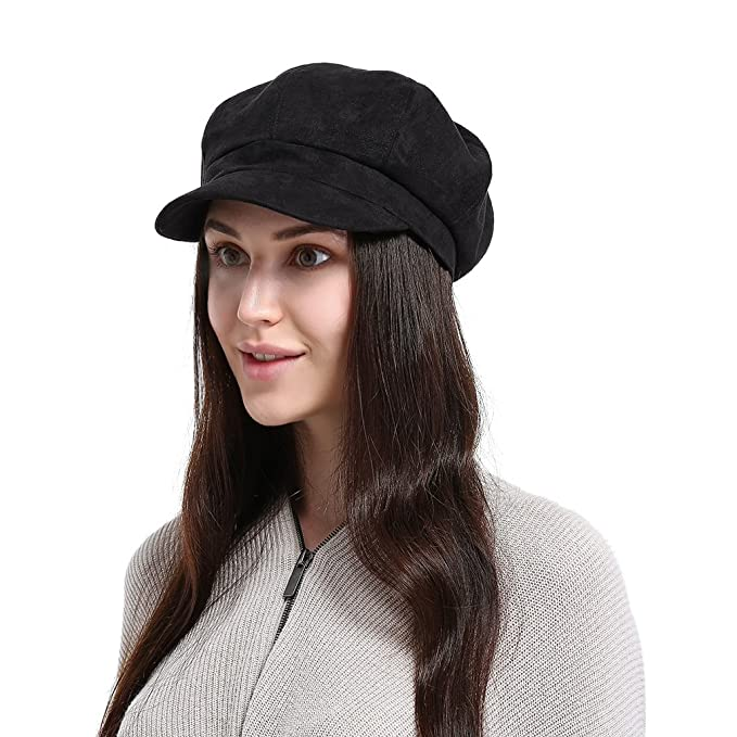 6ae7b0944df7f6 La Vogue Newsboy Cabbie Beret Cap for Women Beret Visor Bill Hat Black at  Amazon Women's Clothing store: