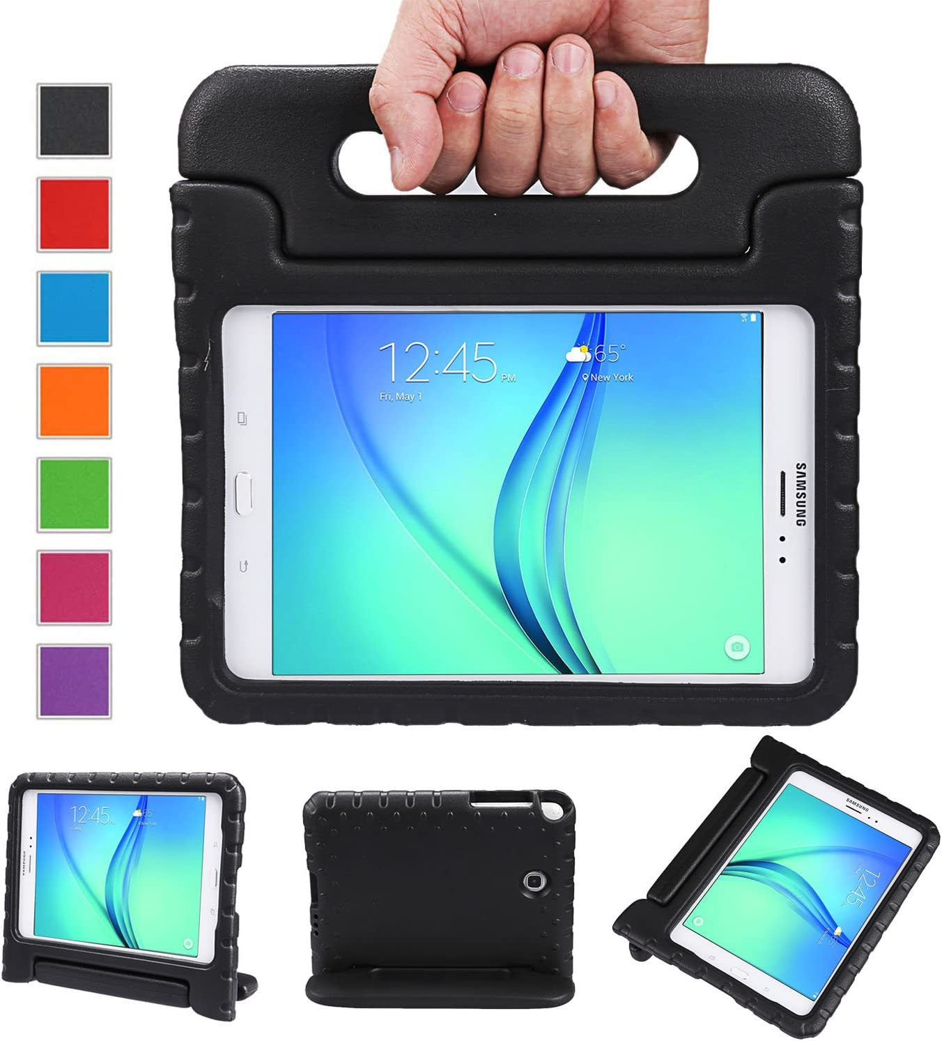 NEWSTYLE Tab A 8.0 Shockproof Case Light Weight Kids Case Super Protection Cover Handle Stand Case for Kids Children for Samsung Galaxy Tab A 8.0 8.0-inch SM-T350 - Black Color