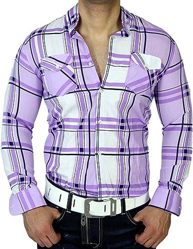 Slim Fit Party Club Designer Style Camisa de cuadros blanco L de 70 jp74 nuevo. 3 colores: Amazon.es: Ropa y accesorios