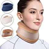 Velpeau Neck Brace -Foam Cervical Collar - Soft Neck Support Relieves Pain & Pressure in Spine - Wraps Aligns Stabilizes Vertebrae - Can Be Used During Sleep (Dual-use, Brown, Large, 3.3″)