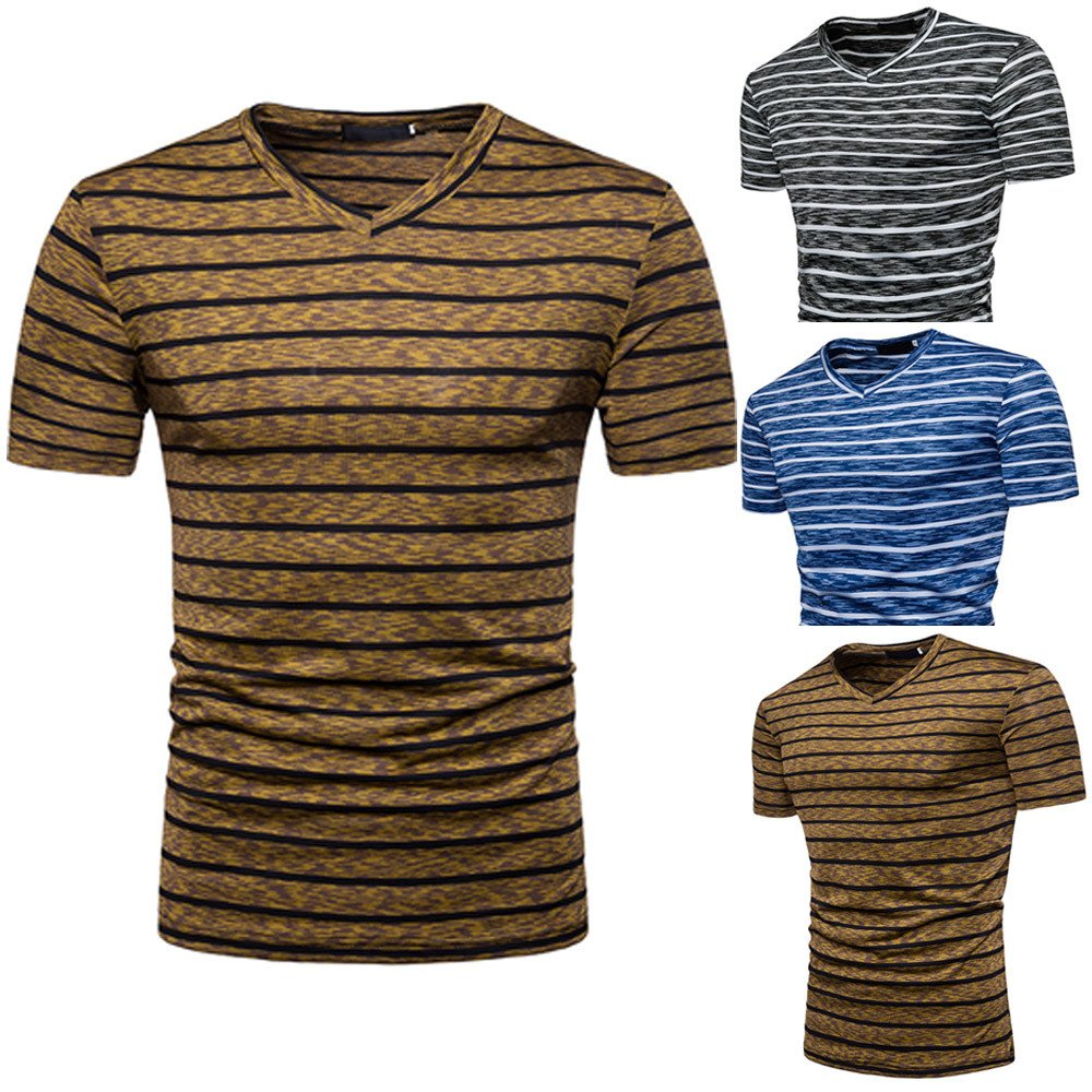 Stripe T Shirts for Men, MISYYA V Neck Polo Shirt Breathable Sweatshirt Muscle Tank Top Masculinity Undershirt Mens Tops Coffee by MISYAA (Image #4)