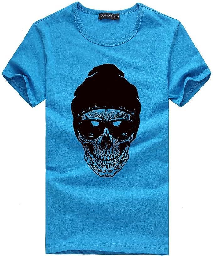 MODOQO Mens O-Neck T-Shirt Casual Slim Fit Short Sleeve Summer Sports Gym Tee Tops