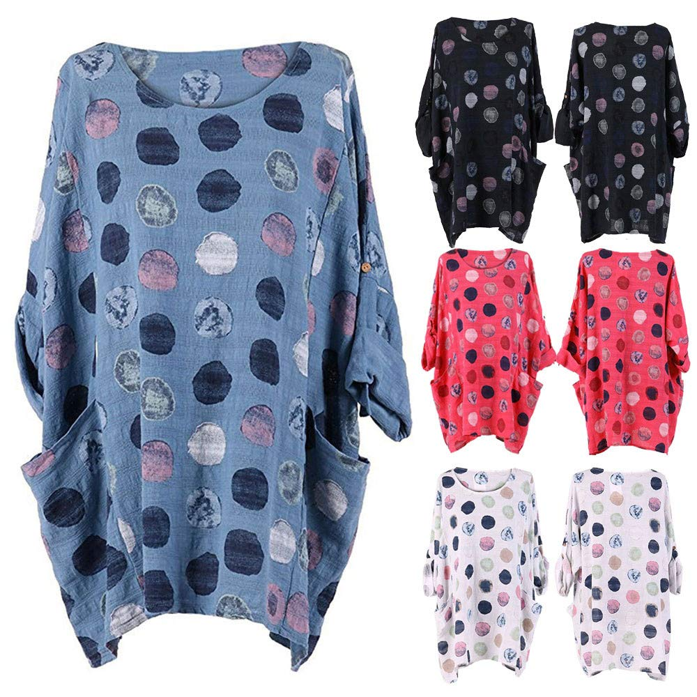 HOTSELL-Clothing Tops for Women Plus Size~HOSTELL〔☀ㄥ☀〕Ladies New Italian Women Polka Dots Cotton Tunic Top Blouse With Pocket Oversized