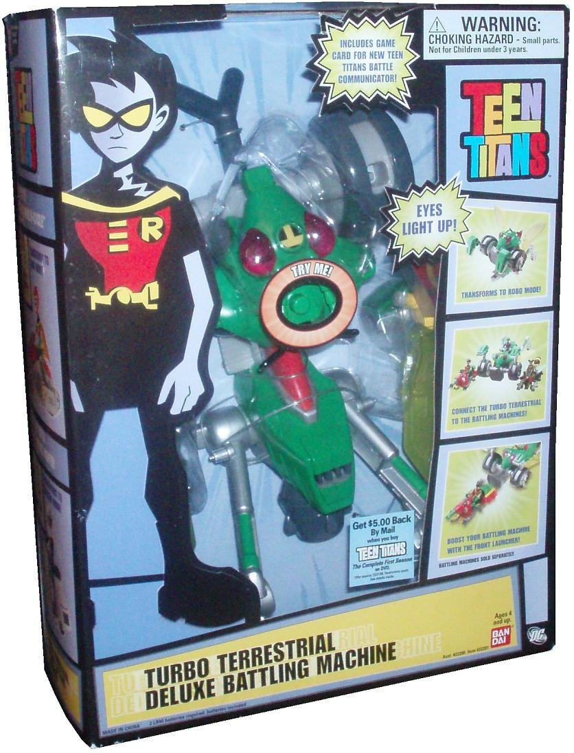 Amazon.com: Bandai Teen Titans 2006 Vehicle Set - Turbo Terrestrial Deluxe Battling Machine with Light Up Eyes and Game Card for Teen Titans Battle ...