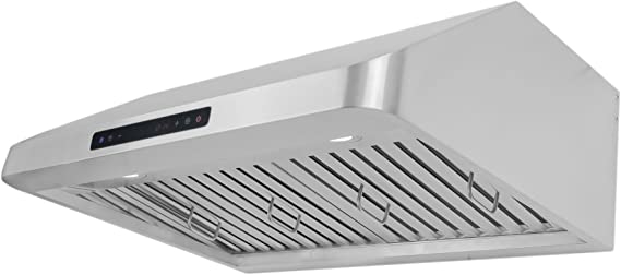 Cosmo 900 CFM Pro Style 30 in. Under Cabinet Range Hood with LCD Touch Control Panel Kitchen Vent Cooking Fan Range Hood with Baffle Filters, LED Lighting and Remote Control