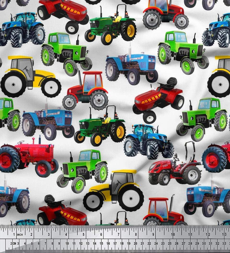 Amazon Com Soimoi Sewing Cotton Cambric Fabric Material Tractor