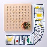 Montessori Wooden Geoboard Mathematical Manipulative Material Array Block Geo board 18pcs Pattern Card Classpack 8x8 Grid Early Development Toy