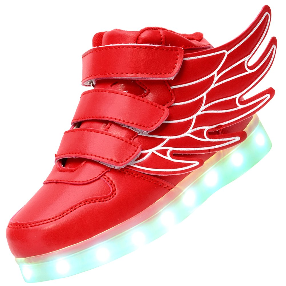 UBELLA Kids Boys Girls LED Light Up High Top Wings Shoes USB Rechargeable Flashing Sneakers