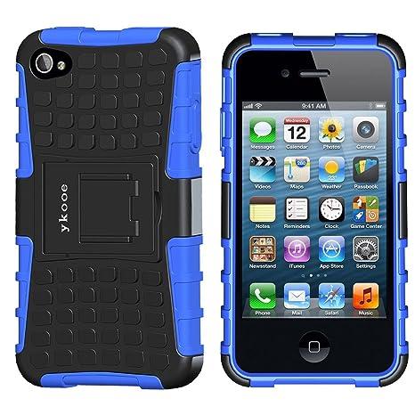 ykooe Handyhülle für iPhone 4 Hülle, iPhone 4s Hülle, Dual Layer TPU Schutzhülle Drop Resistance Protection Case mit Ständer
