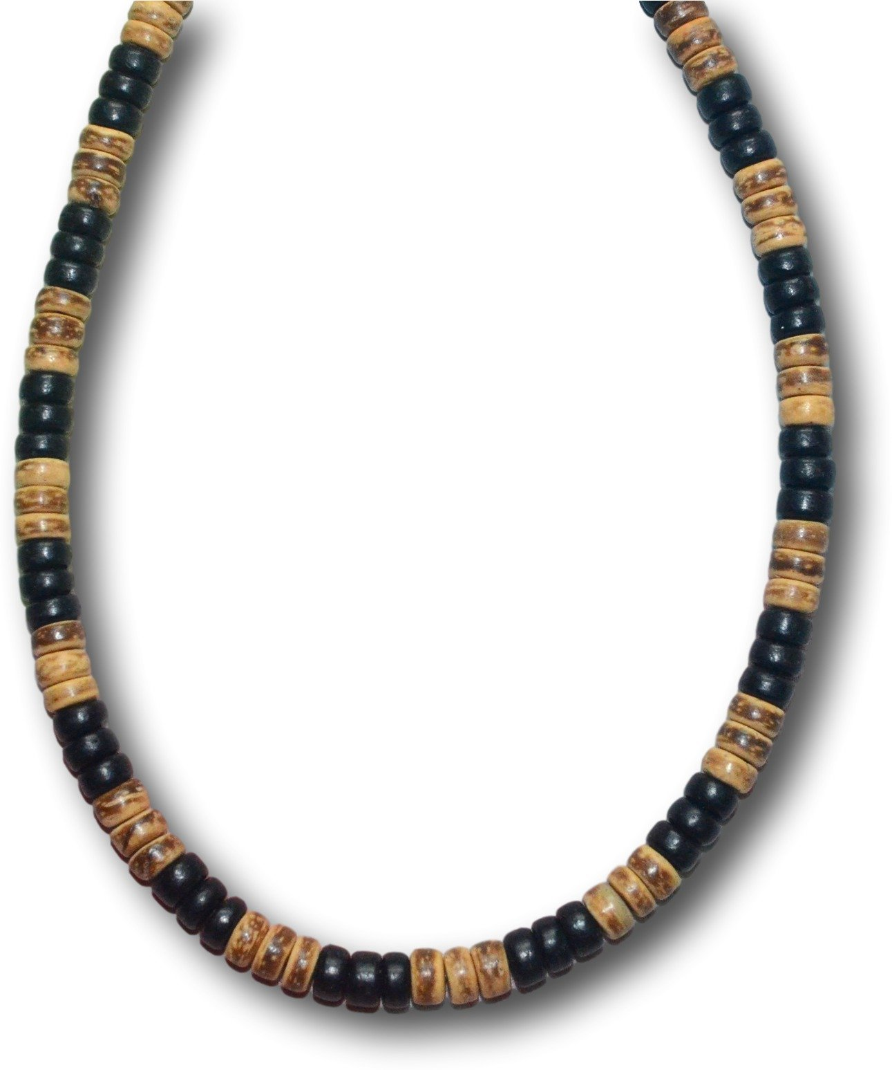 Native Treasure - 17 inch Mens Real Wood 3 Black 3 Tiger Coco Bead Surfer Necklace - 8mm (5/16'')