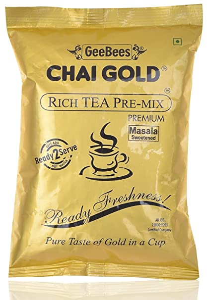 GeeBees Chai Gold Instant Premix Masala Tea Sweetened, 500 g