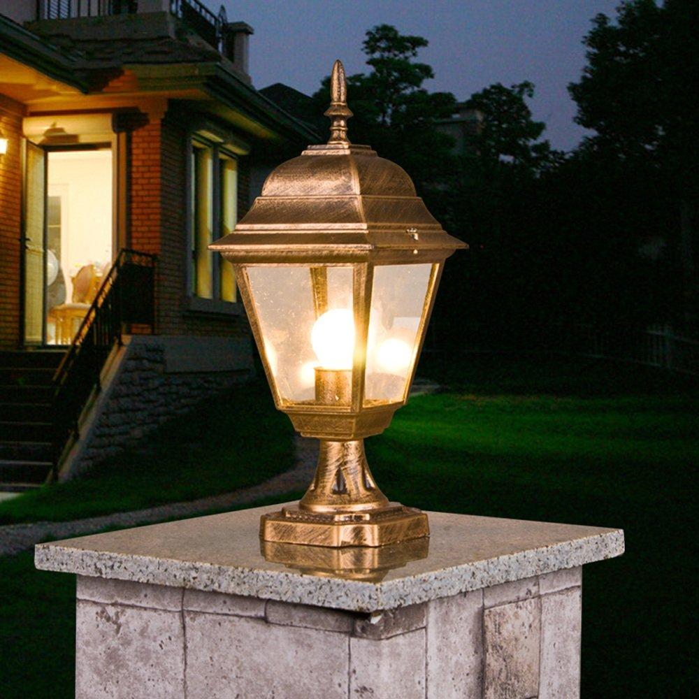 Bronzo alluminio pressofusione lampada pilastro alberino lanterna giardino villa cancello esterno cortile negozio parco colonna luce impermeabile IP55 percorso paesaggio illuminazione stradale decora