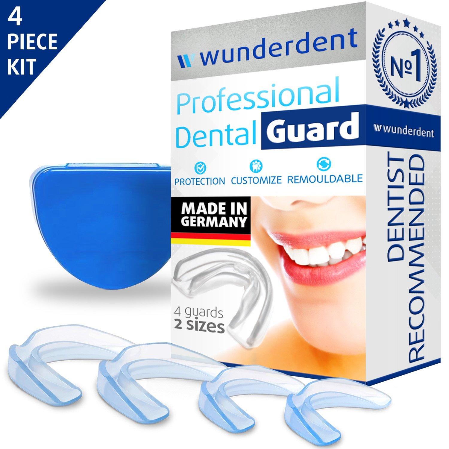 Professional Dental Night Guard - Pack of 4 - Made in Germany - Teeth Grinding Night Protector, Athletic Mouth Guard, Teeth Whitening Tray - Stops Bruxism, Eliminates TMJ & Teeth Clenching - BPA Free