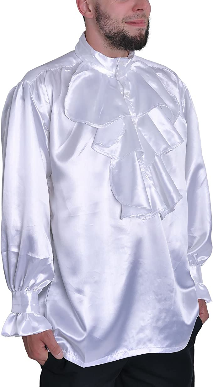Rizado blanco camisa atuendo medieval noble camisa de satén con las colmenas / Chorrera de cuello alto - XL: Amazon.es: Ropa y accesorios