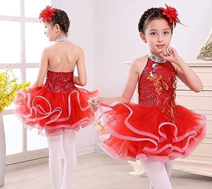 8673d019ce472 Traje de Falda de Danza Latina para niños Niñas Ropa de Ballet Espectáculo  de actuación de