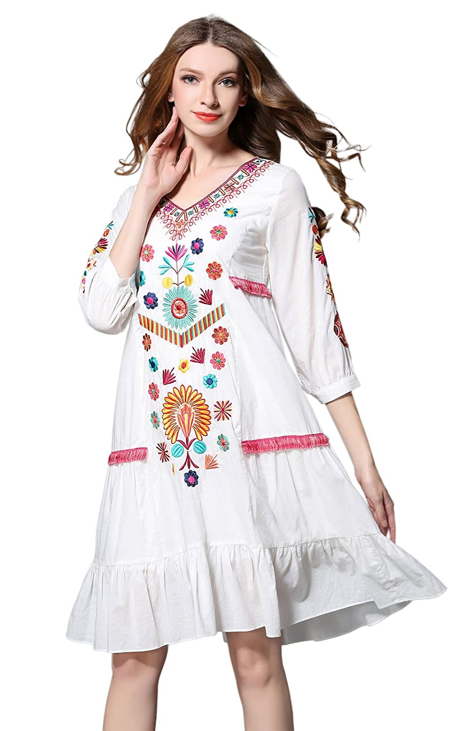 Shineflow Womens Casual 3//4 Sleeve Floral Embroidered Mexican Peasant Dressy Tops Blouses Shirt Dress Tunic /…