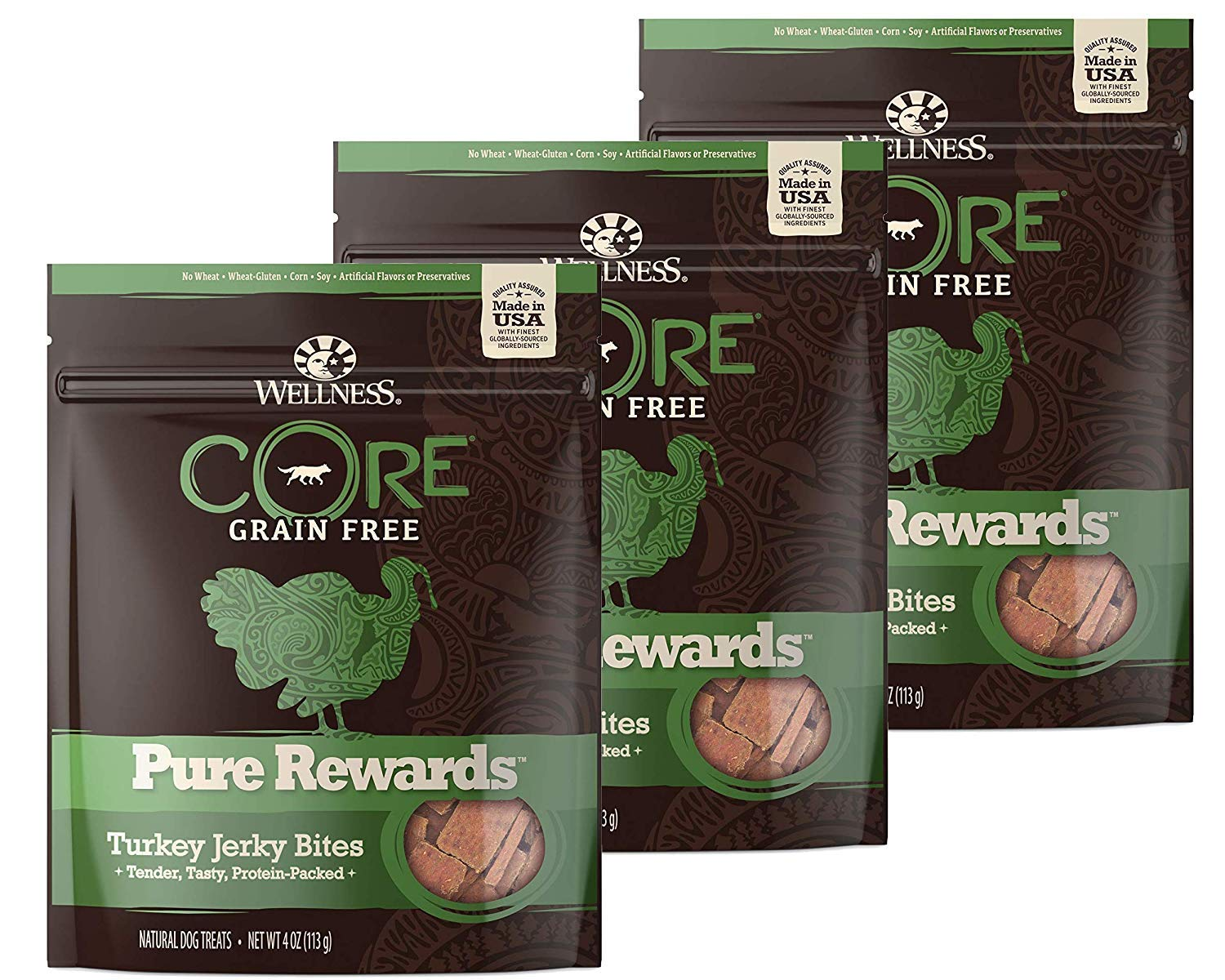 WELLNESS CORE Pure Rewards Natural Grain Free Dog Treats, Soft Jerky Bites, 4-Ounce Bag Turkey Jerky, 3 Pack 4-Ounce Bag