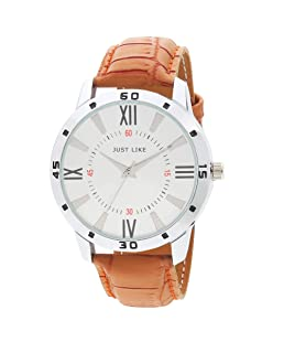 Casera Silver Dial Brown Belt Casual Analogue Watch for Men (Avio Brown)
