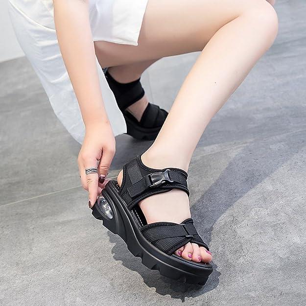 16bef0d515030 Koyi Nouveau Femmes Sandales Épaisseur Hauteur Velcro Plat Casual Sport Filles  Pompes Open-Toed Platform  Amazon.fr  Chaussures et Sacs