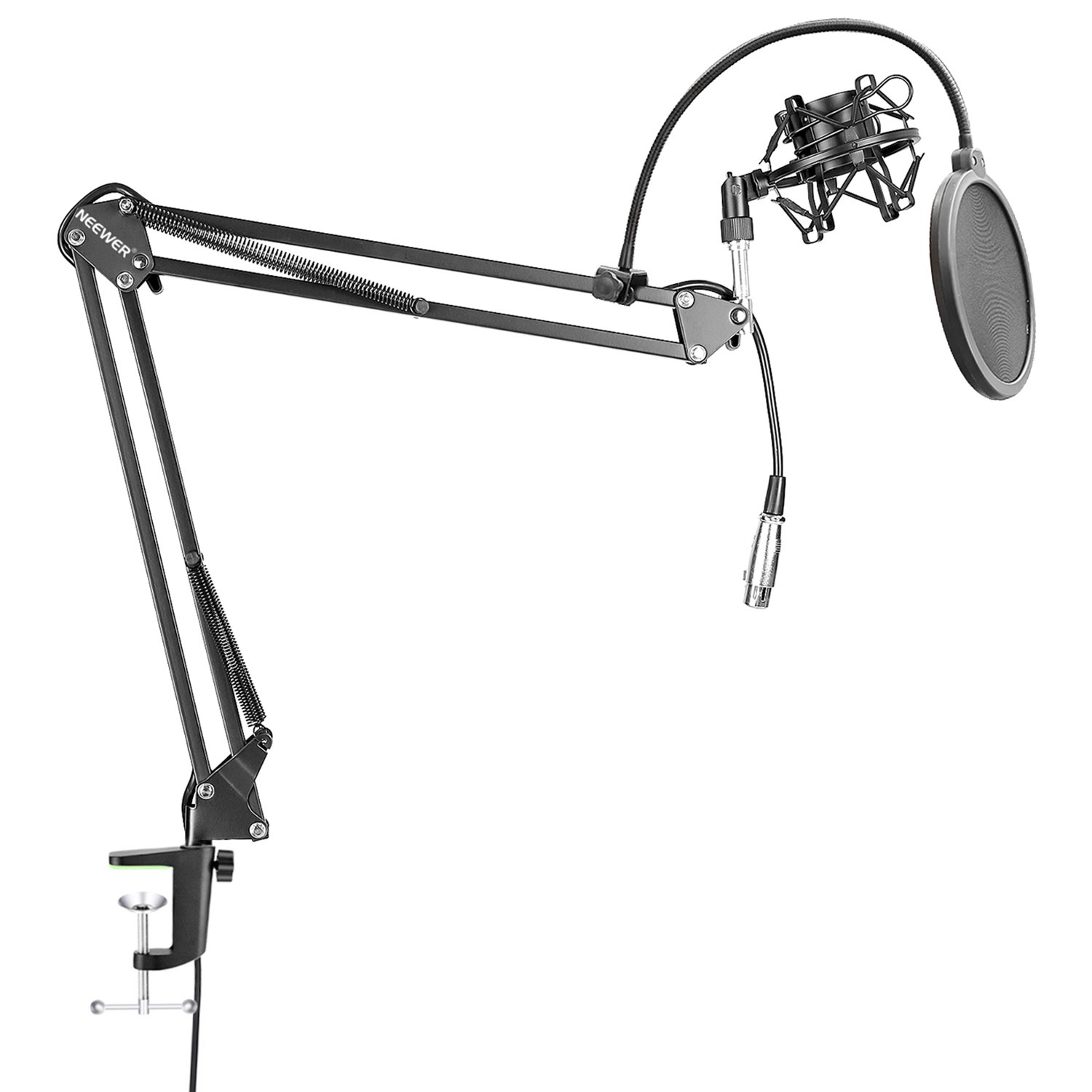 Neewer NW-35 Table-top Microphone Suspension Boom Scissor Arm Stand with Built-in XLR Male to Female Cable, Shock Mount, 6 inch Mic Pop Filter for Radio, Broadcast, Studio and Home Recording (Black) 90091047