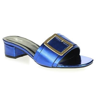 AARZ LONDON Femmes Dames Soir Fête Brillant Confort Open Toe Bloquer le Talon Glisser Sur Décontractée des Sandales Chaussures Taille