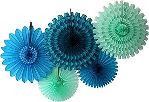 Devra Party 5-Piece Tissue Paper Fans, Sea Breeze Blue Green