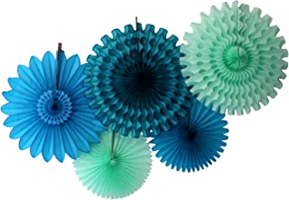 product image for Devra Party 5-Piece Tissue Paper Fans, Sea Breeze Blue Green