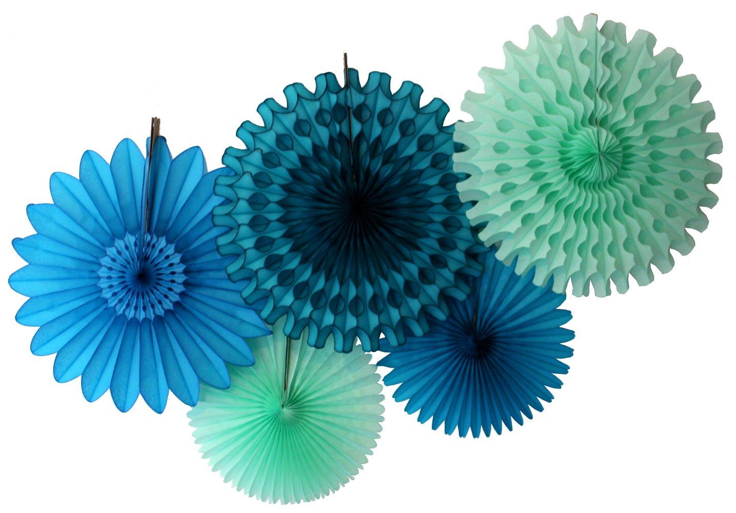 Amazon Hanging Honeycomb Tissue Fan Teal Green Set Of 3 13