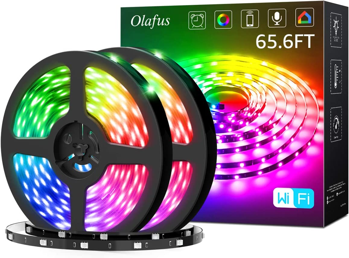 Olafus 65ft Smart RGB LED Strip Lights Kit, Music Synch Wifi Tape Lights with Remote, 24V 20m Strip with 600 LEDs 5050, Dimmable Color Changing Lighting Strips, Compatible with Alexa, Google Assistant