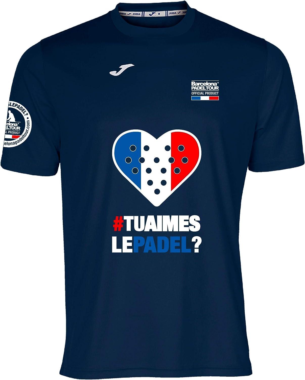 Barcelona Padel Tour Camiseta Manga Corta Técnica Joma Love Hombre Francia Azul Marino XL
