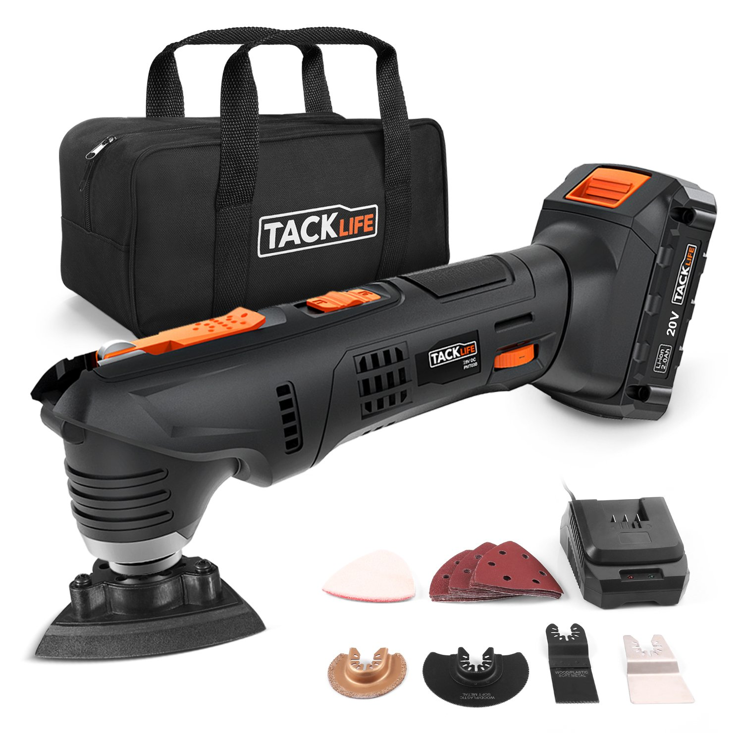 Oscillating Tool, Tacklife PMT03B 20V Max Cordless Multifunctional Tool, 2.0Ah Lithium-Ion Battery, 1 Hour Fast Charge, 6 Variable Speed for Grout Removing, Scraping, Cutting and Polishing