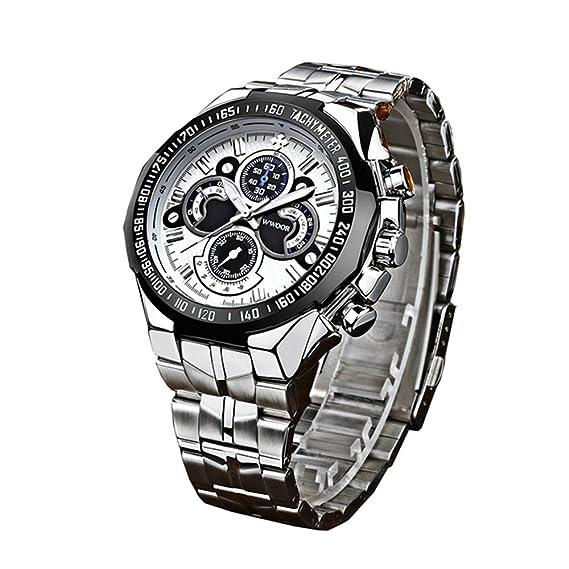 wwoor 8013 deportes hombres de acero inoxidable relojes con luminoso reloj de cuarzo japonés