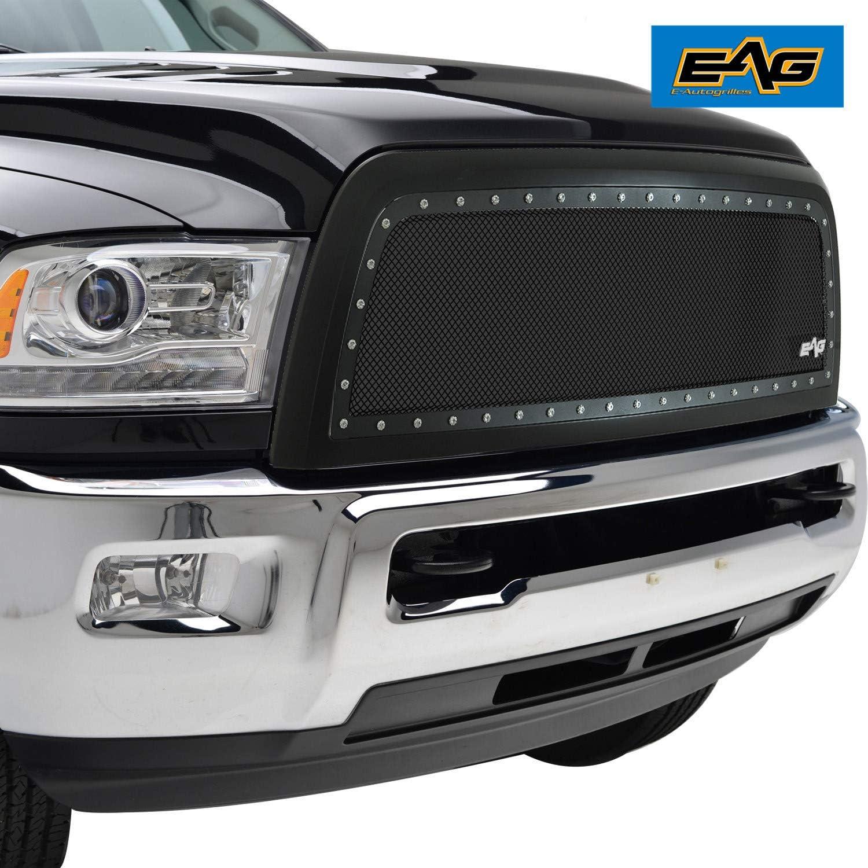 EAG Fit 10-12 Dodge Ram 2500//3500 Rivet Grille Hood SS Mesh Matte Black Shell
