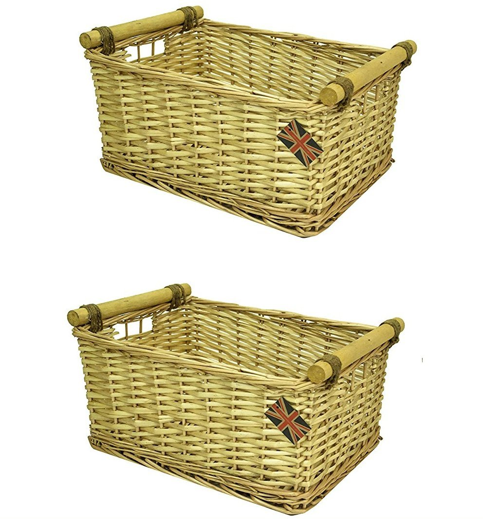 east2eden Honey Wicker Storage Kitchen Draw Hamper Basket in Choice of Sizes & Deals (Set of 2 Small) e2e