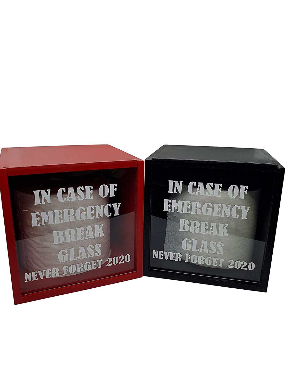 In Case of Emergency Break Glass, Funny Gag Gift Black Christmas Gift Funny Wall Decor Shadow Box
