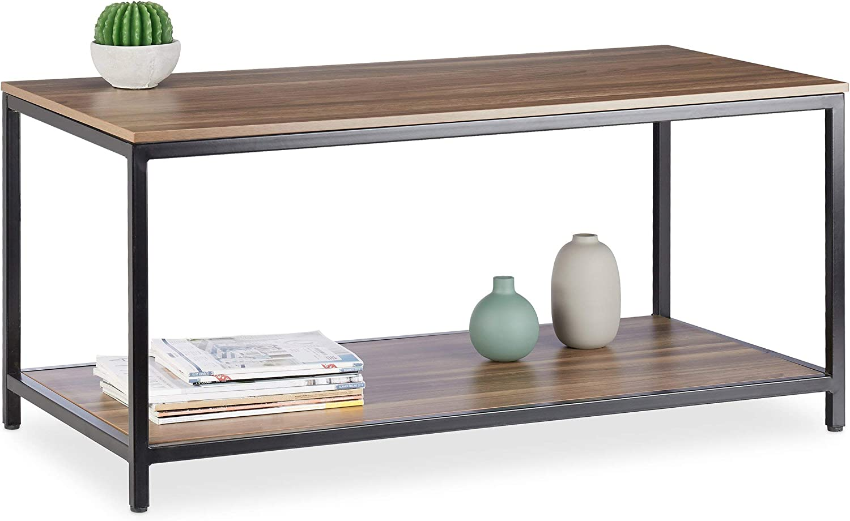 Relaxdays Side Robust U-Shaped Coffee Table Black 61 x 30 x 45 cm Melamine Top Decorative Metal Frame 60 cm Tall