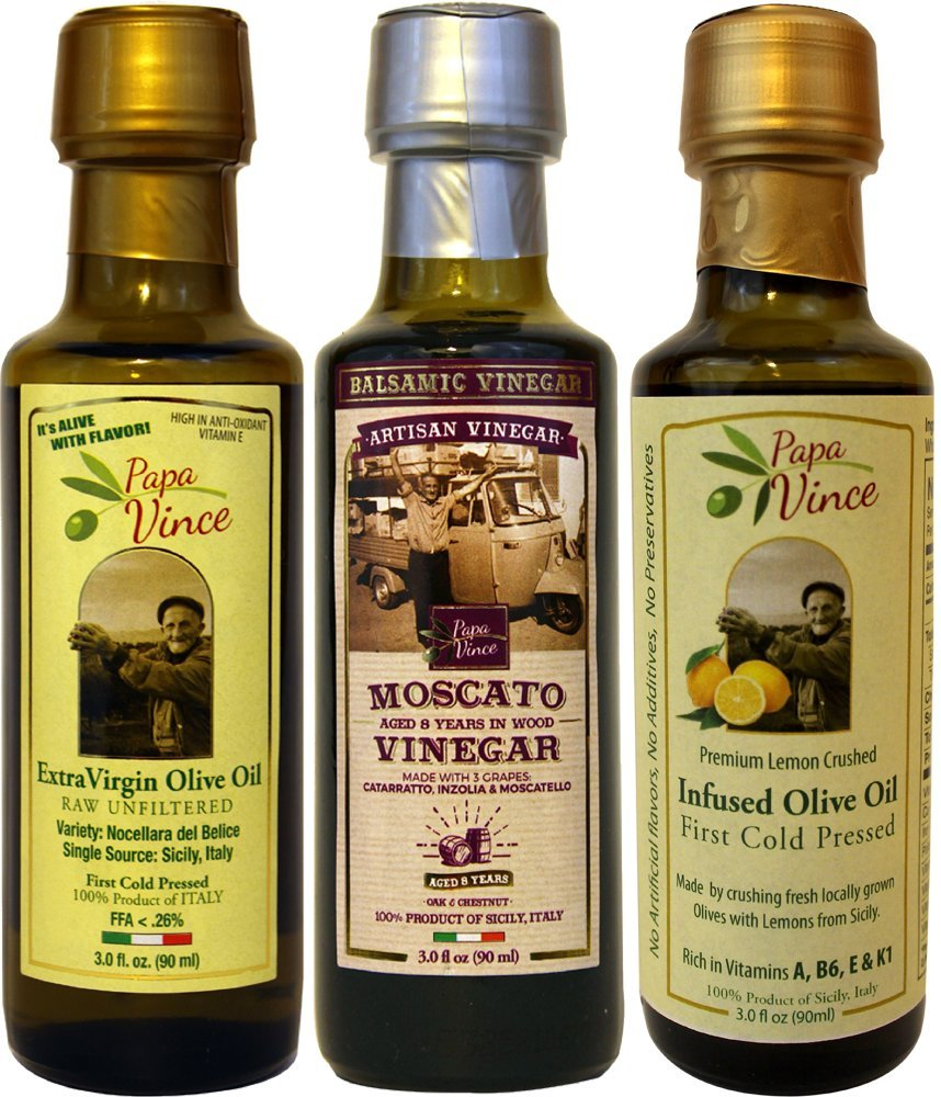 Papa Vince Infused Olive Oil - Dipping Set | Lemon Olive Oil | Balsamic Vinegar aged 8-years in wood | Extra Virgin Olive Oil Harvest Dec 2016 from our family in Sicily, Italy | 3 fl oz each
