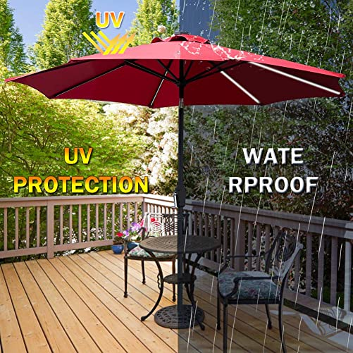 Patio Umbrella with LED Solar Lights,9ft Outdoor Solar-Powered Table Market Umbrellas with Crank 8 Strong Steel Ribs for Garden Pool Deck Patio Beach Backyard Party Red