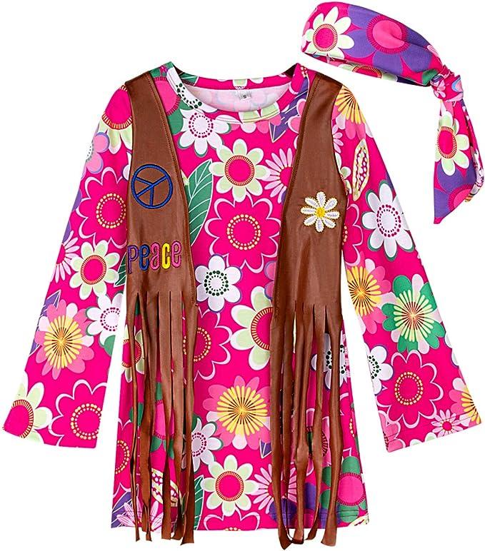 60s Costumes: Hippie, Go Go Dancer, Flower Child, Mod Style A&J DESIGN Kids Girls 60s Hippie Costume Peace Love Dress $17.99 AT vintagedancer.com