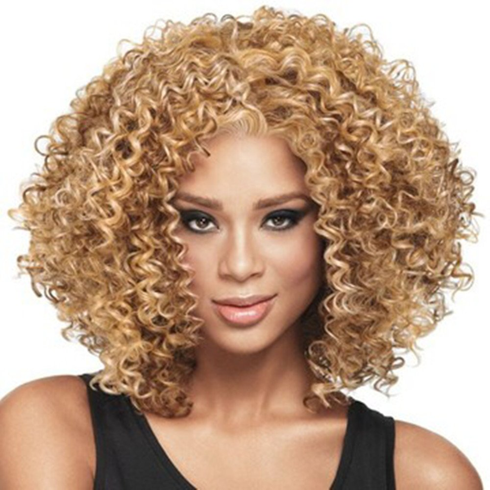 Sleek Kinky Curly Wigs Short Human Hair Wigs Africa Curly Hair Afro Kinky Curly Wig Lace Wig (Color 3) SiaLa