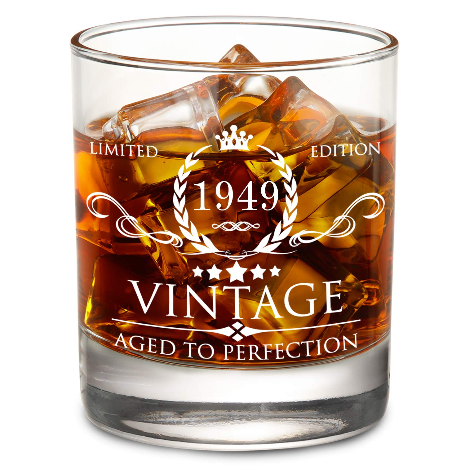 1949 70th Birthday Gifts For Men And Women Lowball Whiskey Glass