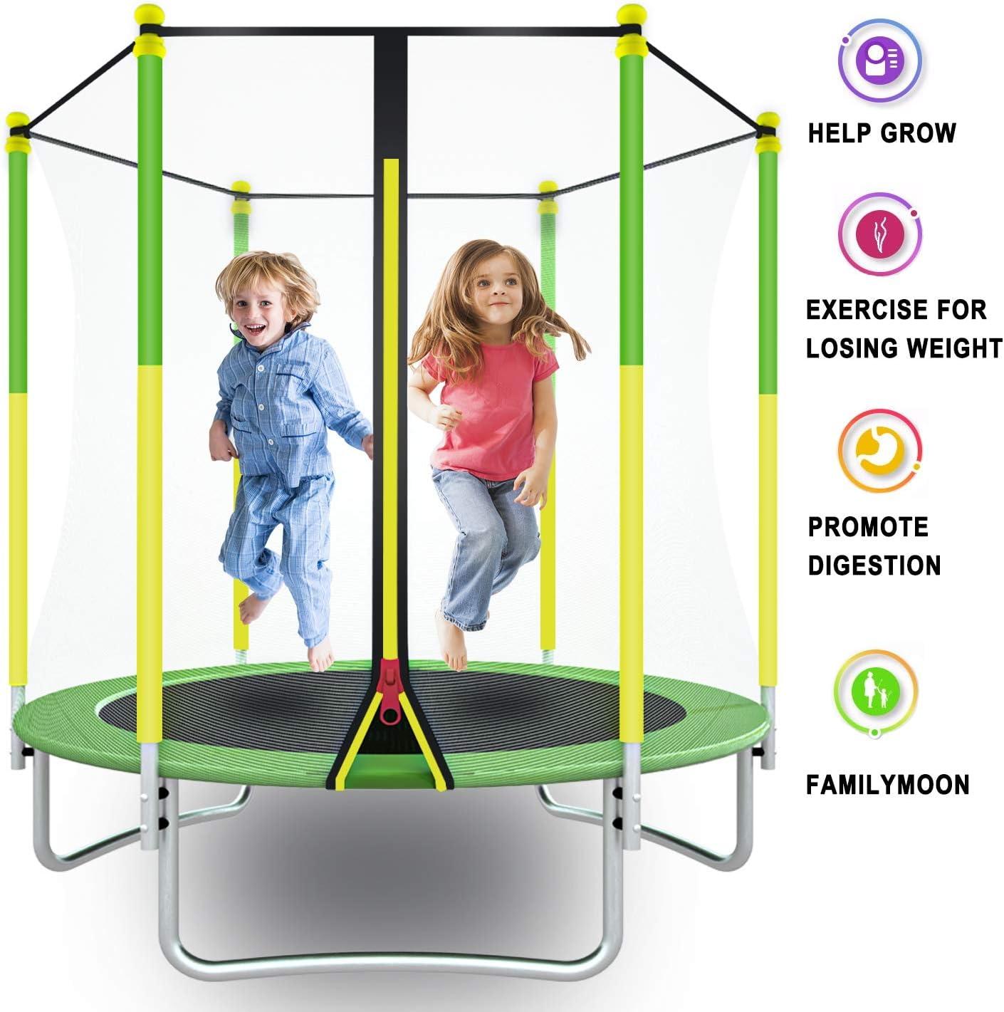 Bounce Jumper for Toddler Ridkodg 【US Fast Shipment】 5FT Kids Trampoline with Enclosure Net /& Spring Cover Padding Safety Outdoor Recreational Rebounder Trampoline for Boys /&Girls
