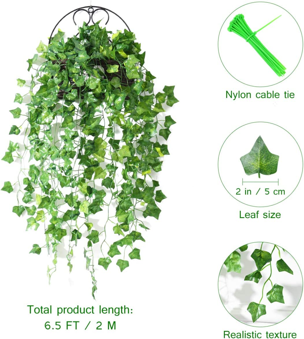 Artificial Ivy Garland, 118 FT Fake Ivy Leaves Fake Leaf Plants Vine Hanging Garland Ivy Foliage Leaves for Party Home Decor