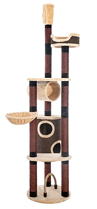 Opixeno Kratzbaum Für Große Und Schwere Katzenrassen Deckenspanner Deckenhoch Braun Beige 245 260cm Hoch Besonders Stabil