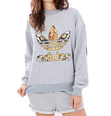 adidas Originals Womens Rita Ora Banned from Normal Multi Colour AY7144 Jumper Grey