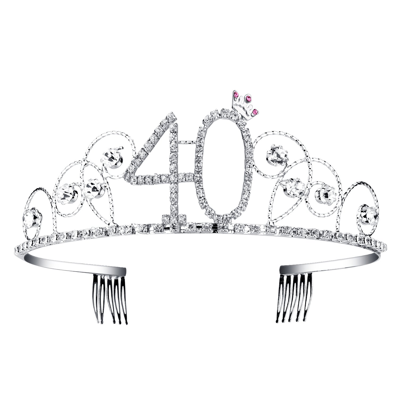 BABEYOND Crystal Tiara Birthday Crown Princess Crown Hair Accessories Silver Diamante Happy 40th Birthday (40 Birth) by BABEYOND (Image #2)